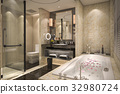 modern and classic loft bathroom with luxury tile  32980724