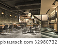 loft and luxury hotel reception and cafe  32980732