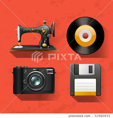 Vintage collections with sewing machine and disks 32980935