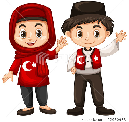 Boy and girl in Turkey costume 32980988