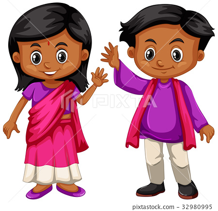 Indian boy and girl smiling 32980995
