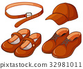 Brown shoes and belt 32981011