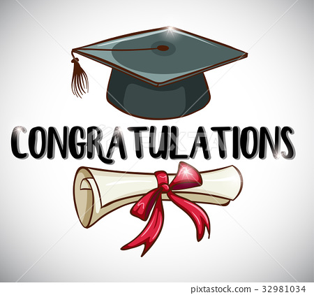 Congratulations card template with cap and degree 32981034