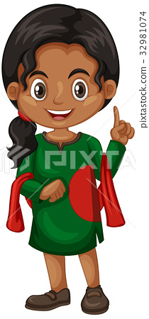 Bangladesh girl in green costume 32981074