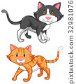 Two cute cats on white background 32981076