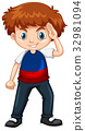 Boy wearing blue and red shirt 32981094