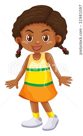 Little girl in yellow skirt 32981097