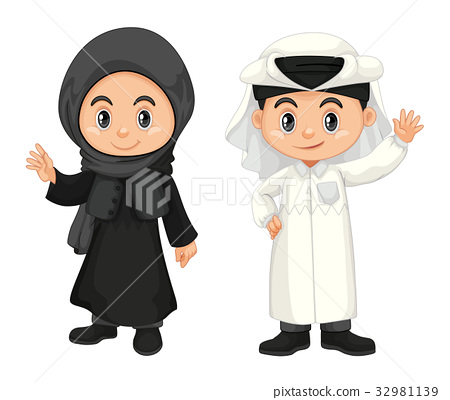 Boy and girl in Qatar costume 32981139