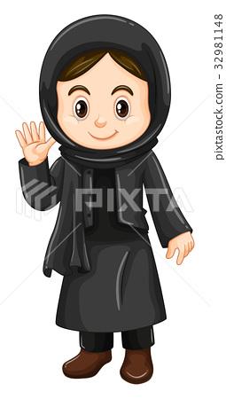 Cute girl in black costume 32981148