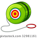 Green yoyo with red ring 32981161