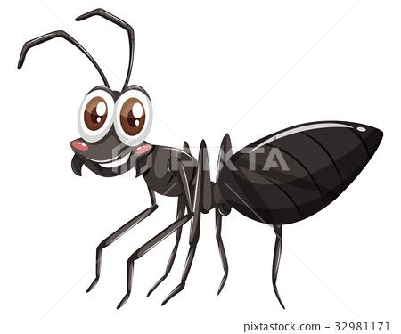 Black ant with happy face 32981171