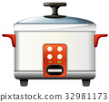 Rice cooker on white background 32981173