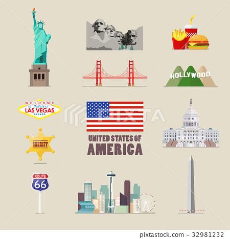 America icons set 32981232