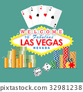 Welcome to Las Vegas sign with gambling elements 32981238