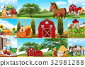 Farm scenes with many animals and farmers 32981288