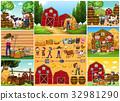 Farmers and animals on the farm 32981290
