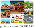 Excavator tractors working in different sites 32981293