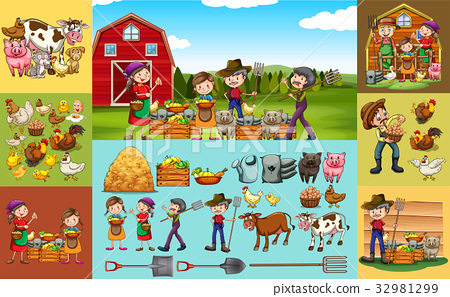 Farmers and animals on the farm 32981299
