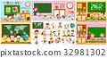 Different scenes of classrooms with kids 32981302