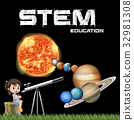 education poster design with girl and solar system 32981308