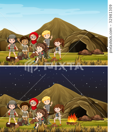 Children camping in mountain day and night 32981309
