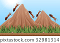 Many ants climbing up the mountains 32981314