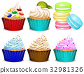 Different flavor of cupcakes 32981326