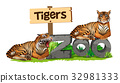 Two tigers on zoo sign 32981333