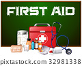 First aid word on board and different equipment 32981338
