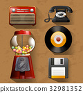 Vintage items on brown background 32981352
