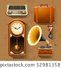 Retro items on brown background 32981358