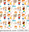 Seamless background design with kids playing 32981361