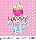 Card template for birthday with cupcake 32981389