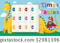 Times tables template with dragon in background 32981396