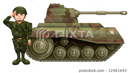Soldier and military tank 32981693