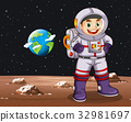 Astronaut standing on planet 32981697