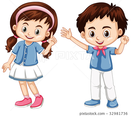 Boy and girl with happy face 32981736