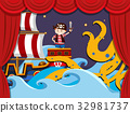 Stage play with pirate fighting kraken 32981737