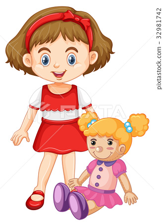 Little girl playing with doll 32981742
