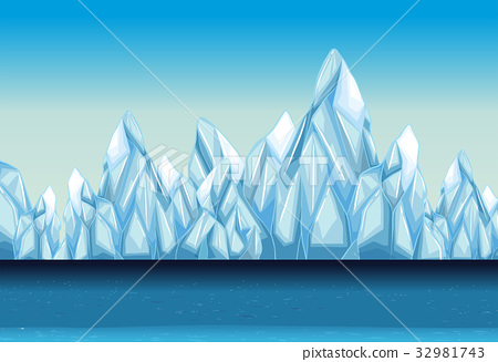 Background with glacier and ocean 32981743