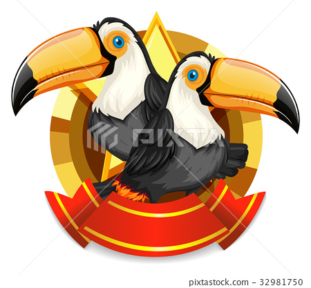 Banner design with two toucan birds 32981750