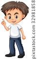 Little boy pointing finger 32981858