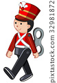 Toy soldier walking on white background 32981872