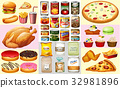 Different types of canned food and desserts 32981896