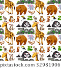 Seamless background design with wild animals 32981906