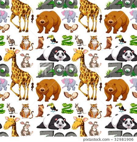 Seamless background design with wild animals 32981906