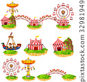 Different rides at amusement park 32981949