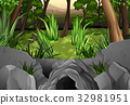 Forest scene with trees around cave 32981951