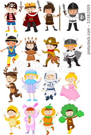 Children in different costumes 32982009