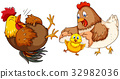 Chicken family with little chick 32982036